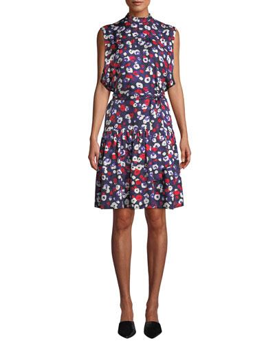 ccd535b079 Mock-Neck Sleeveless Belted Poppy-Print Silk Dress w  Ruffle Hem