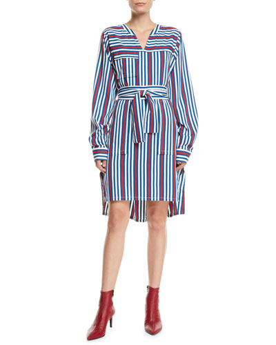 Long-Sleeve Belted Striped Shirtdress
