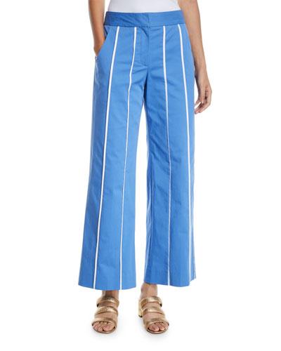 Wide-Leg Striped Culotte Pants