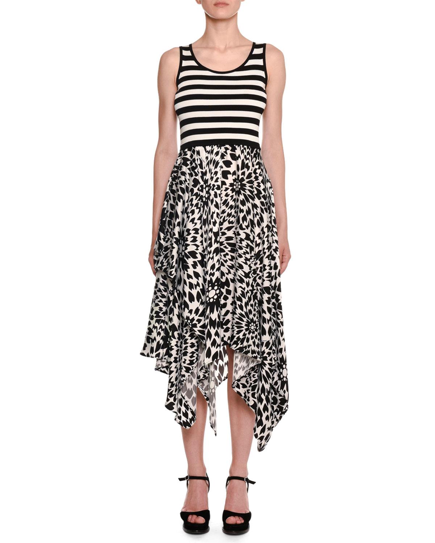 Missoni Dresses SLEEVELESS CREWNECK STRIPED-TANK FLORAL-PRINT SKIRT MIDI DRESS