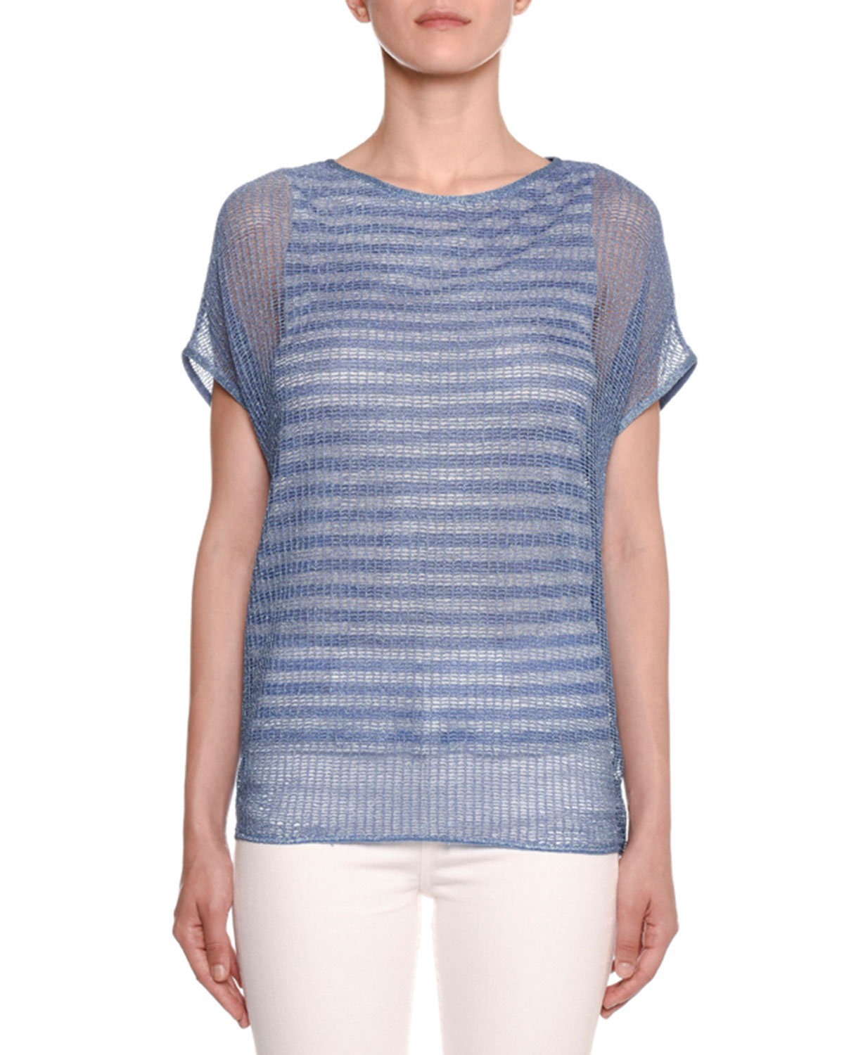 Missoni Shorts CREWNECK SHORT-SLEEVE STRIPED UNDER-MESH TOP