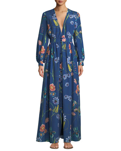 Francesca Deep-V Button-Front Long-Sleeve Floral-Print Maxi Dress