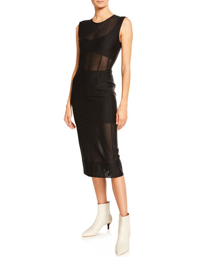 Sleeveless Sheer Mesh-Paneled Bodycon Dress