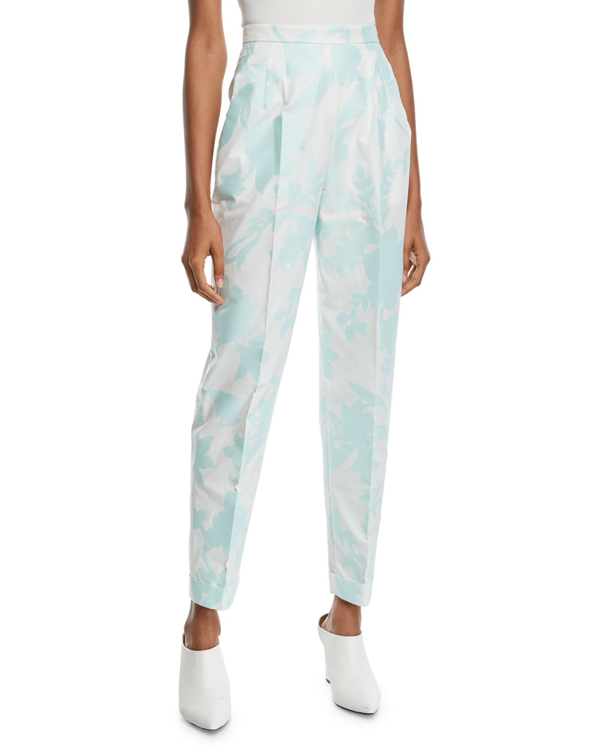 Delpozo PLEAT-FRONT CUFFED-HEM TAPERED FLORAL-PRINT FIL COUPE PANTS