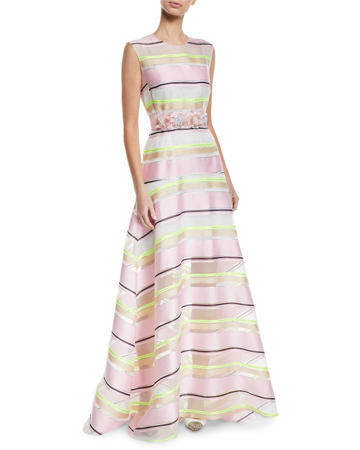 Delpozo SLEEVELESS FLORAL-APPLIQUE BELT STRIPED-ORGANZA A-LINE GOWN