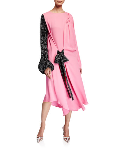 Mixed Georgette Belted Dress