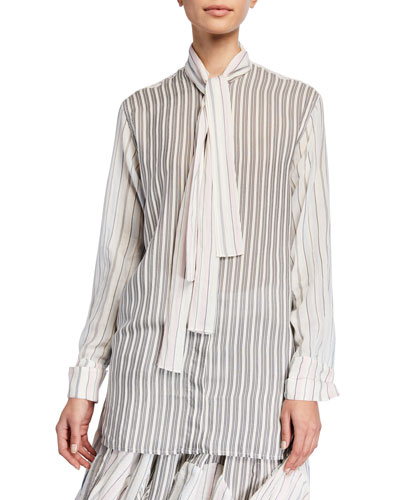 Tie-Neck Pajama-Striped Button-Front Shirt