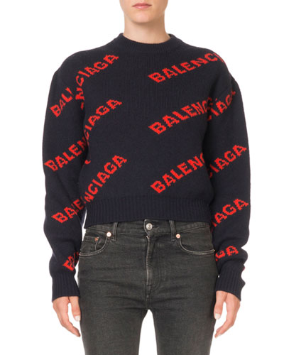 Crewneck Logo-Jacquard Sweater