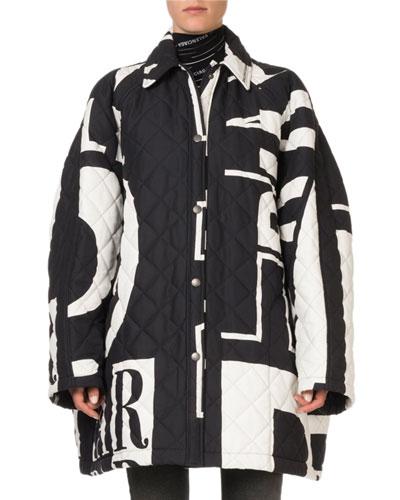 Quilted Logo-Jacquard Oversized Jacket