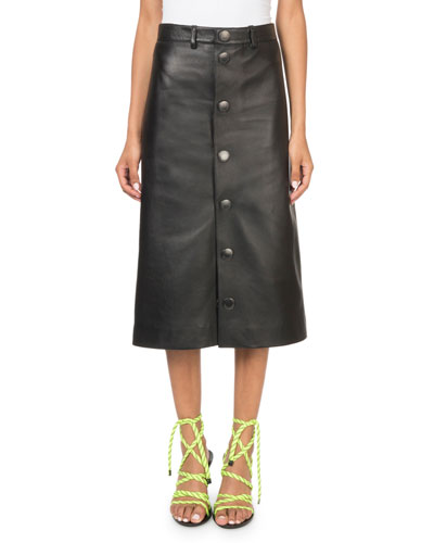 Soft Leather Snap-Front Midi Skirt