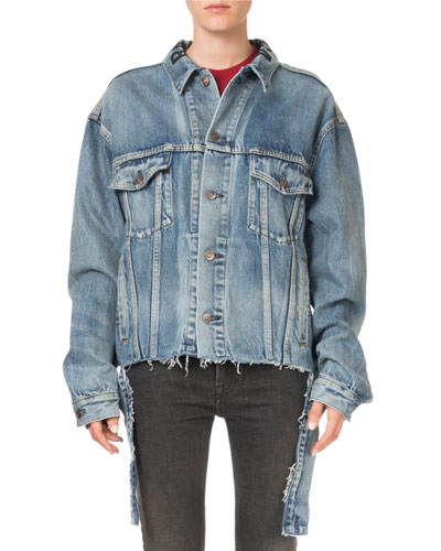 Oversized Vintage Cut-Waistband Denim Jacket