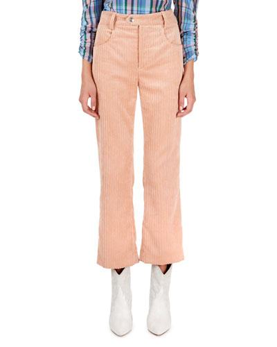 Cropped Flare-Leg Corduroy Pants