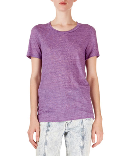 Short-Sleeve Heathered Linen Tee