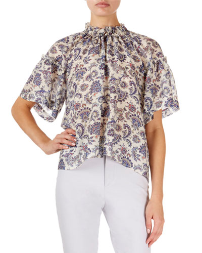 Mock-Neck Paisley Georgette Blouse