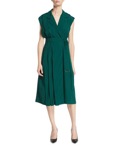 Cap-Sleeve Belted Crepe Back Satin Wrap Dress