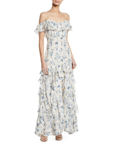 Up All Night Cold-Shoulder Floral-Print Ruffled-Tiered Long Cami Dress