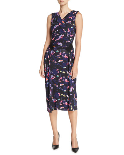Sleeveless V-Neck Floral-Print Jersey Day-to-Evening Dress