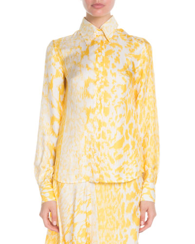 Long-Sleeve Button-Front Printed Silk Top