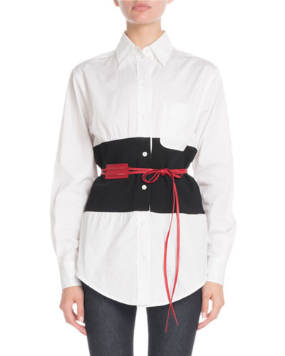 Long-Sleeve Button-Front Colorblock Belted Shirt