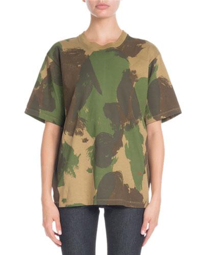 Crewneck Short-Sleeve Camo-Print Cotton T-Shirt