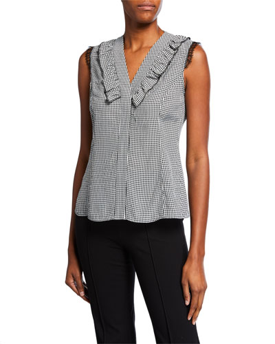 V-Neck Sleeveless Gingham Top with Lace & Ruffle Trim