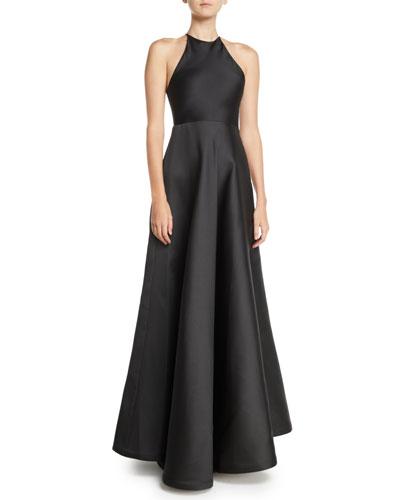 Sleeveless Halter Double-Face Satin Evening Gown