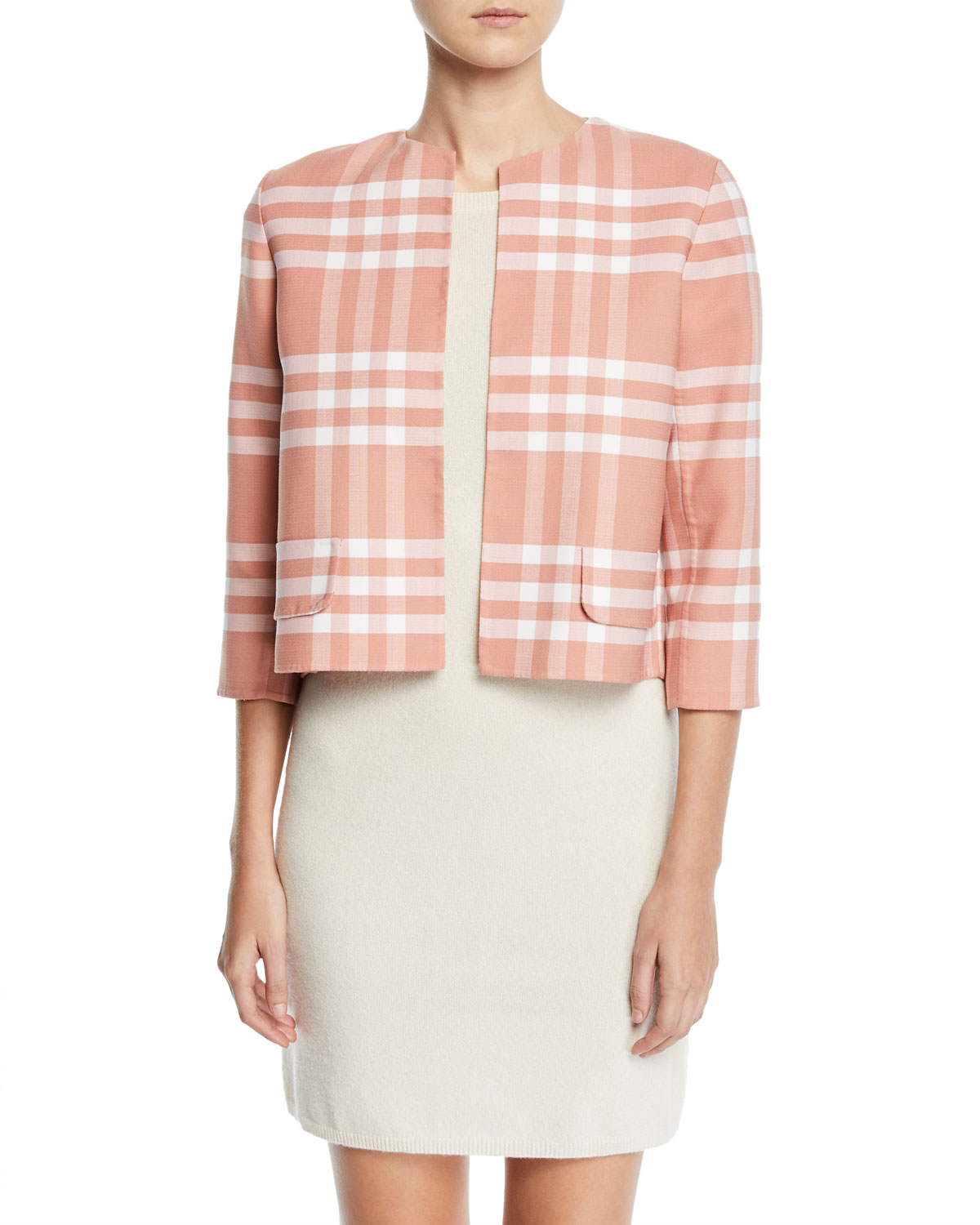 Oscar De La Renta Jackets 3/4-SLEEVE PLAID HIGH-LOW JACKET