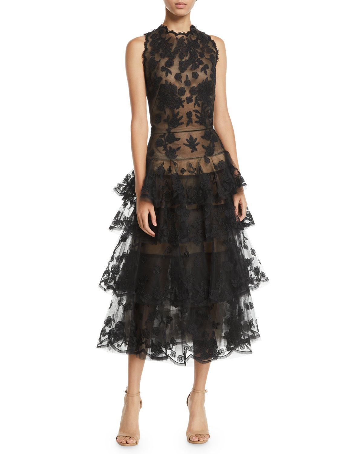 Oscar De La Renta Tops SLEEVELESS FLORAL-EMBROIDERED TIERED TULLE EVENING GOWN W/ OPEN BACK