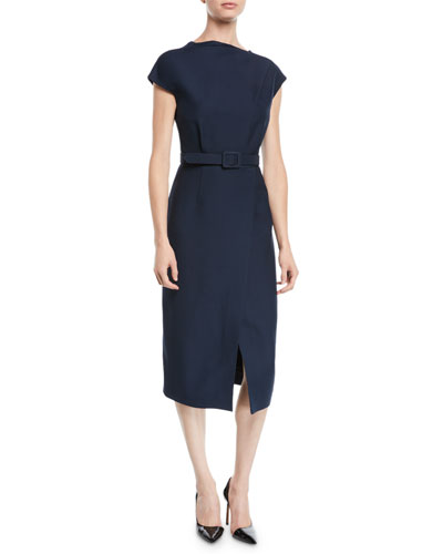 Cap-Sleeve Belted Wrap-Style Wool-Silk Midi Dress