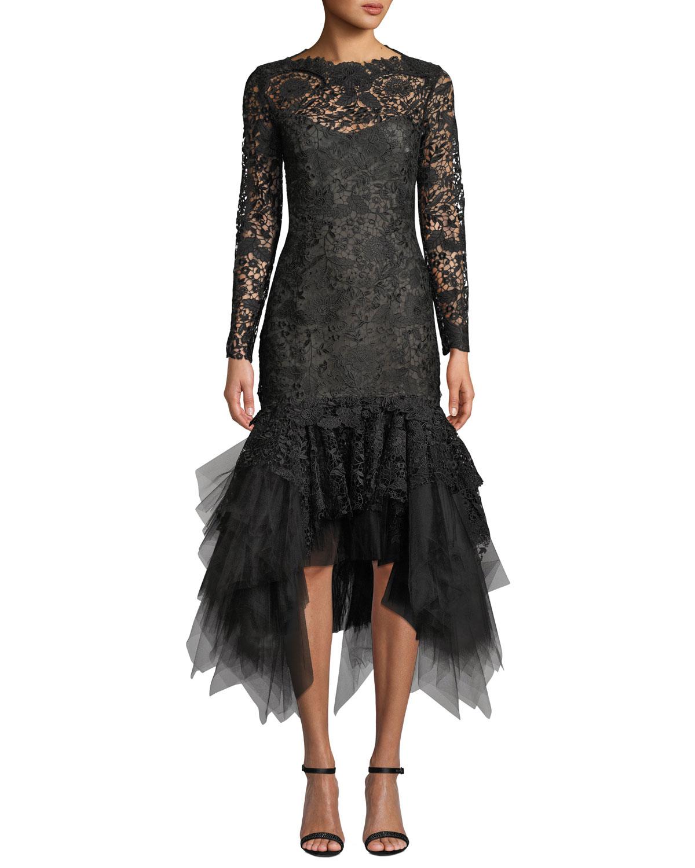 Oscar De La Renta Dresses FLORAL LACE ILLUSION TULLE-FLOUNCE DRESS