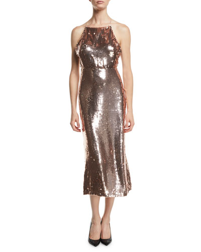 6ad3edff3975f0 Square-Neck Sleeveless Sequined Apron Cocktail Dress