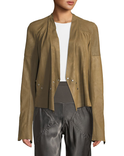Blister Snap-Trimmed Leather Jacket