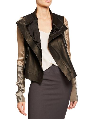 Silky Sleeve Leather Biker Jacket