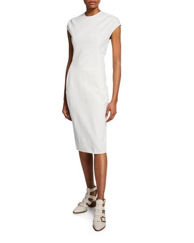 Cap-Sleeve Crewneck Bodycon Dress
