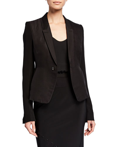 Georgette-Sleeve Textured Blazer