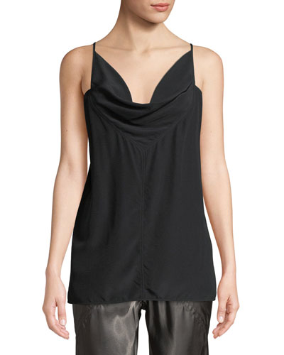 Twisted Cowl-Neck Silk Crepe Tank Top