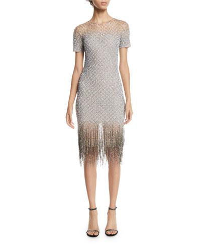 Signature Sequin Body-con Cocktail Dress w/ Fringe Hem