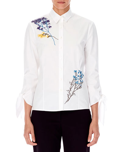 3/4-Sleeve Floral-Embroidered Button-Front Cotton Shirt