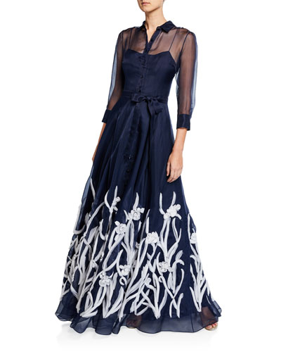 3/4-Sleeve Floral Embroidered Shirt Gown