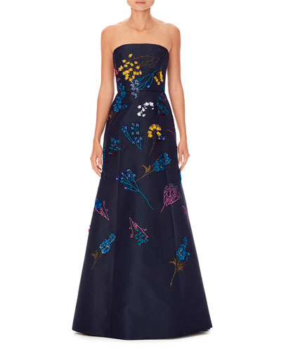 Strapless Floral-Embroidered Trumpet Evening Gown