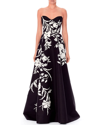 Strapless Sweetheart Threadwork Embroidered Gown