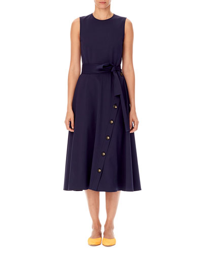Sleeveless Tie-Waist A-Line Midi Dress