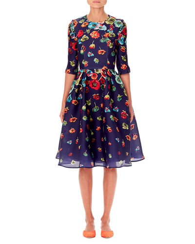 Floral-Print Elbow-Sleeve A-Line Dress