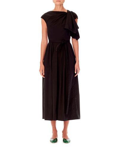 Cap-Sleeve Asymmetric Knot-Detail A-Line Midi Dress