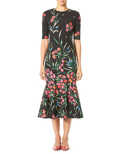 Elbow-Sleeve Floral-Print Midi Trumpet Dress