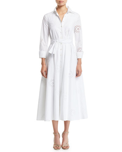 3/4-Sleeve Eyelet Embroidered Midi Shirtdress