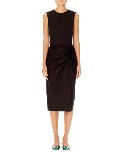 Asymmetric-Ruching Sleeveless Sheath Dress