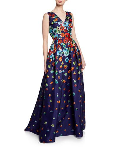 Floral-Print V-Neck Sleeveless Gown