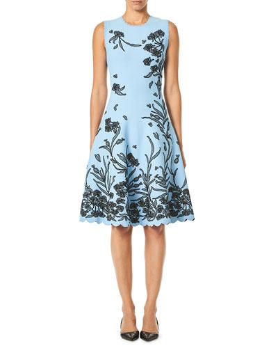 15d8698371b7 Sleeveless A-Line Floral-Jacquard Knee-Length Dress