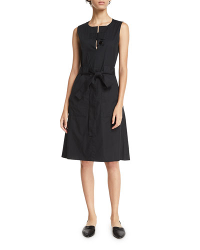 Sleeveless Tab-Neck Belted Cotton Poplin Dress